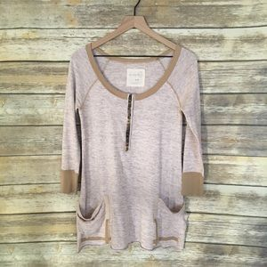 Free People Embellished Henley Tunic with Pockets